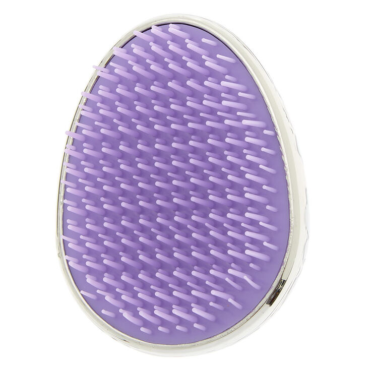 Holographic Leopard Detangling Hair Brush - Silver,