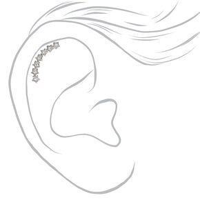 Silver Star Curve Cartilage Earring,