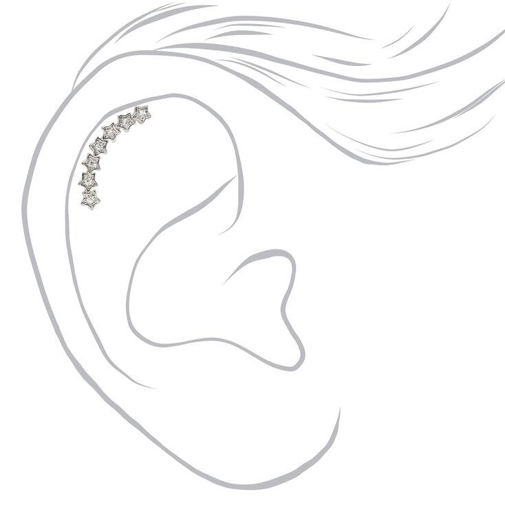 Piercing pour cartilage d'oreille incurvé étoile couleur argentée,