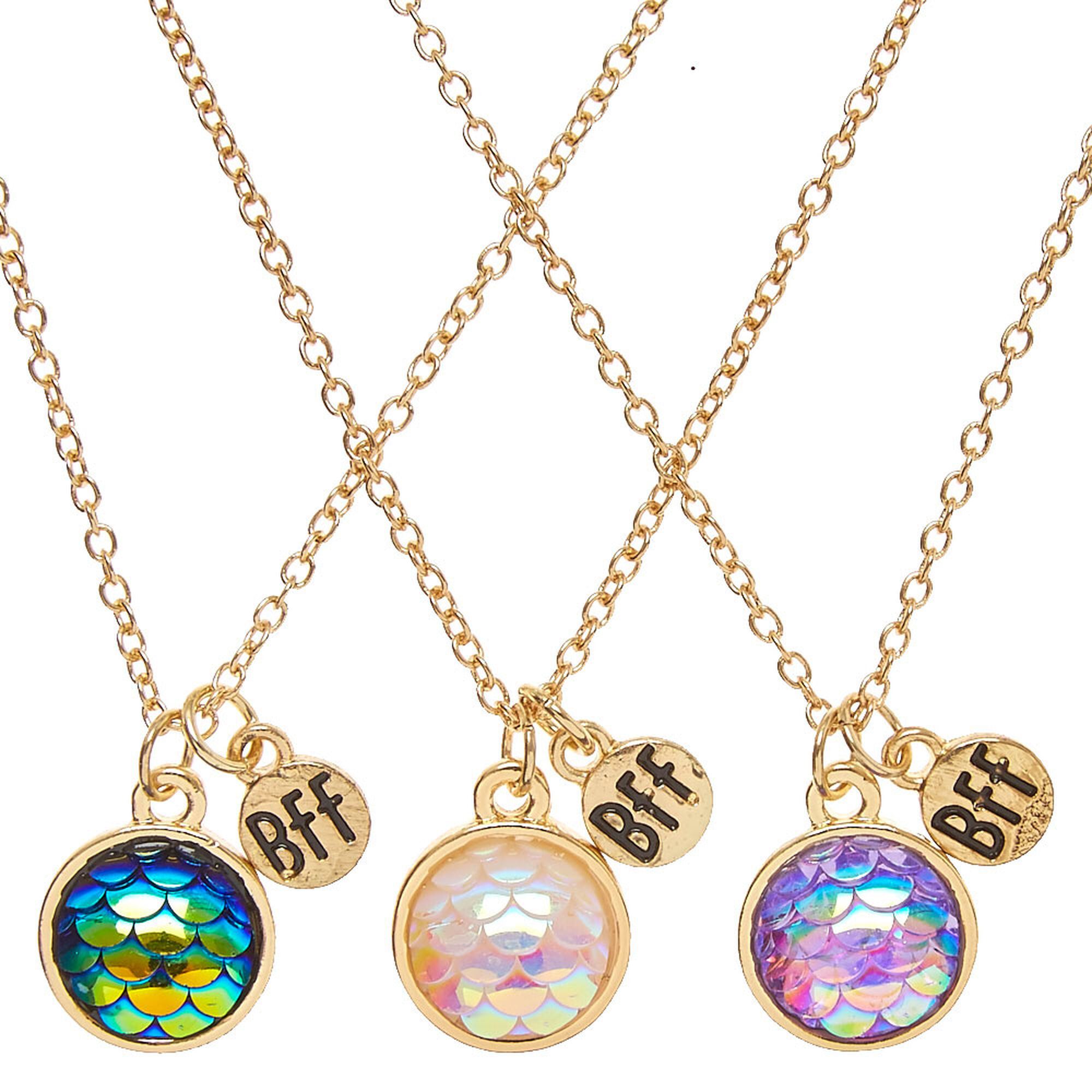 Lovely Best Friends Gold-tone Round Mermaid Scale Pendant Necklaces  OX41