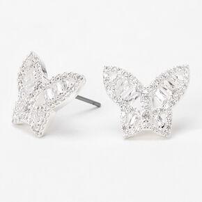 Silver Cubic Zirconia Butterfly Stud Earrings,