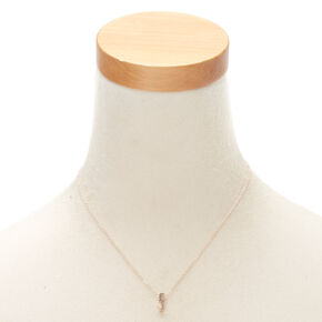 Rose Gold Cursive Initial Pendant Necklace - F,
