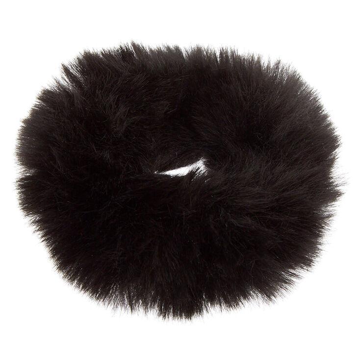 Medium Faux Fur Hair Scrunchie - Black,