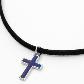 Silver Mood Cross Cord Pendant Necklace - Black,
