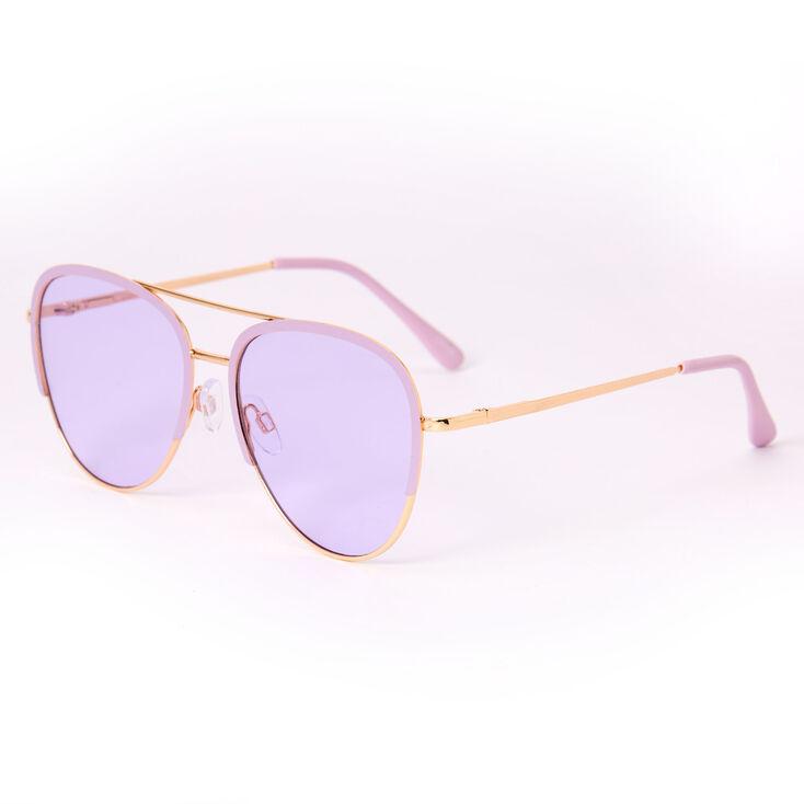 Pastel Outlined Aviator Sunglasses - Lavender,