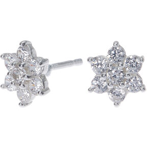Sterling Silver Cubic Zirconia Flower Stud Earrings - 8MM,