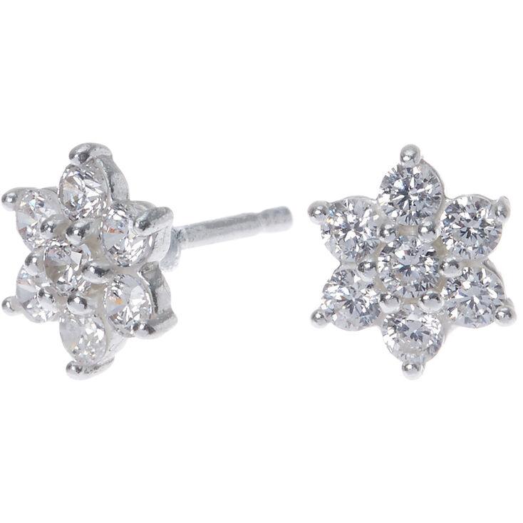 Sterling Silver Cubic Zirconia Flower Stud Earrings - 8MM,