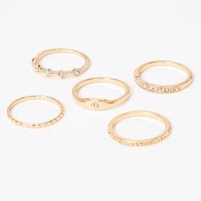 Gold Starburst Studded Rings - 5 Pack,