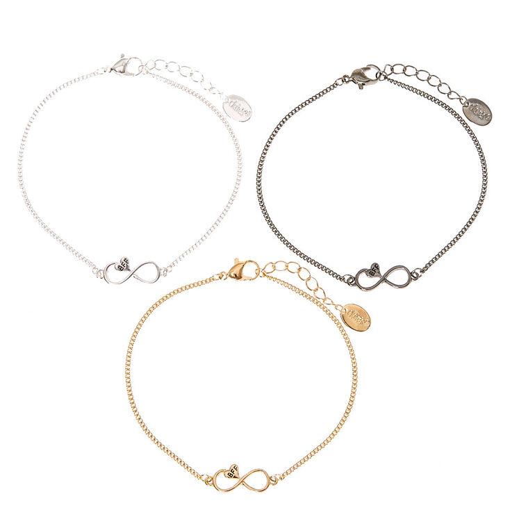 Mixed Metal Infinity Heart Chain Friendship Bracelets - 3 Pack,