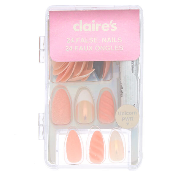 Claire's - holographic unicorn pwr mixed faux nail set - 2