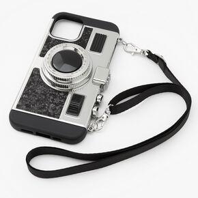 Black Glitter Camera Phone Case - Fits iPhone 12/12 Pro,