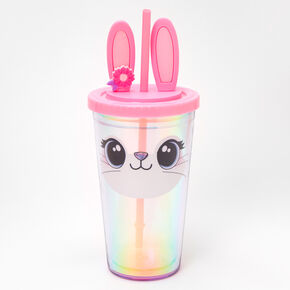 Glitter Bunny Iridescent Tumbler - Pink,