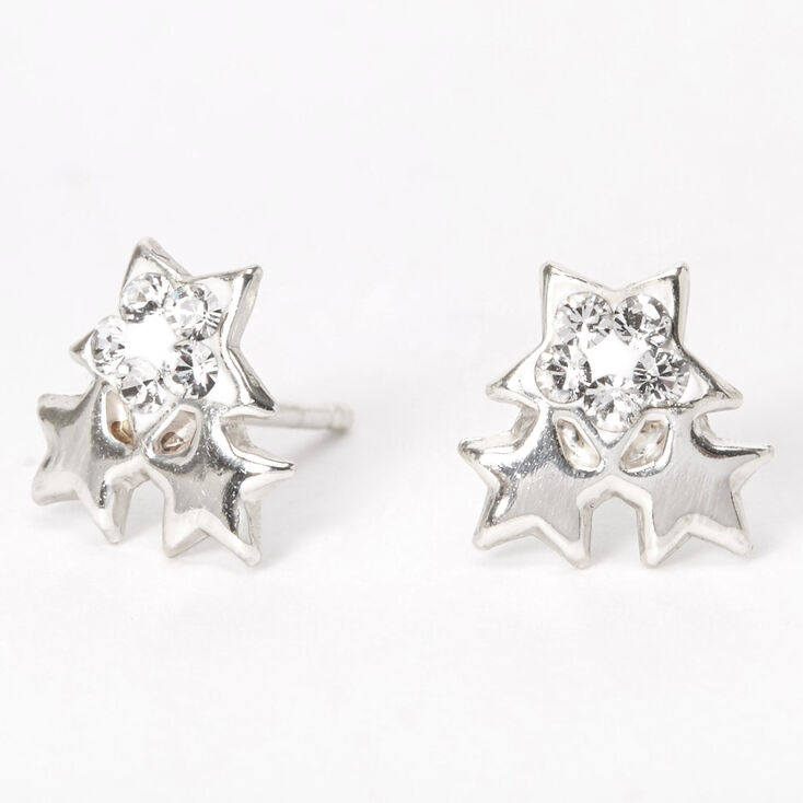 Sterling Silver Swarovski® Crystal Trio Star Stud Earrings,