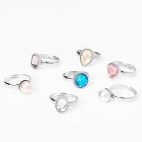 Claire's Club Pearl and Gemstone Rings - 7 Pack,