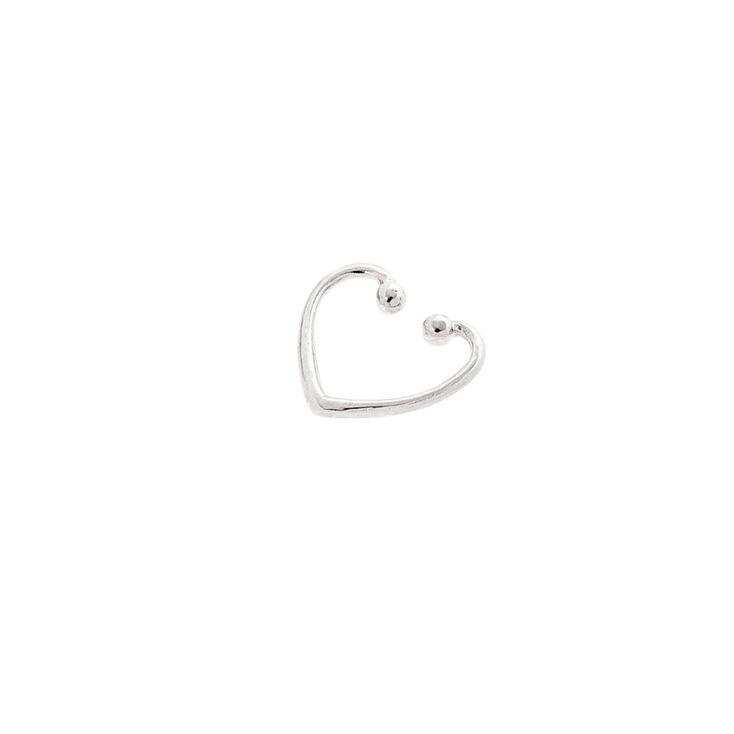 Sterling Silver Heart Faux Cartilage Hoop Earring,