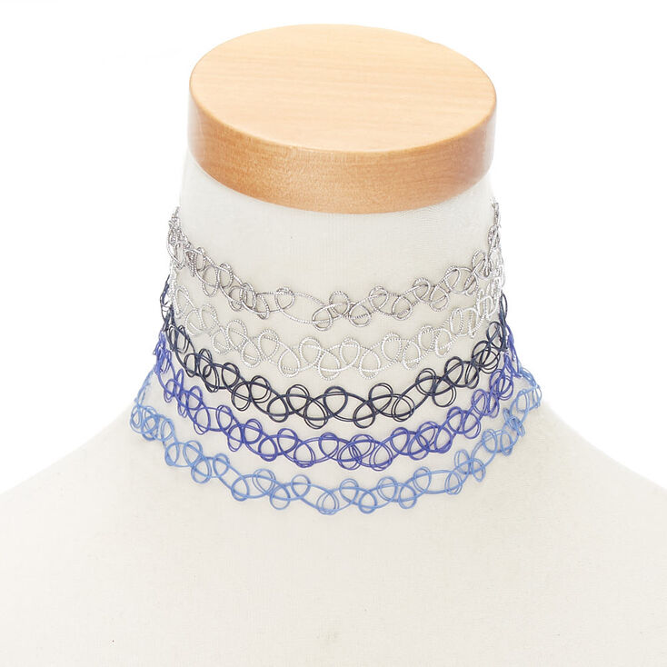 Tattoo Choker Necklaces - Blue, 5 Pack,