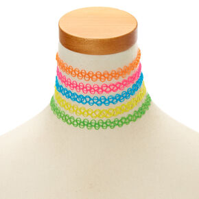 Neon Tattoo Chokers - 5 Pack,