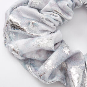 Medium Metallic Marble Hair Scrunchie - Silver,
