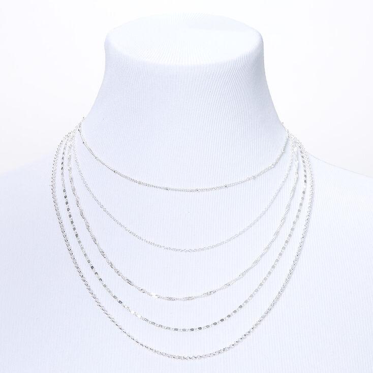 Silver Delicate Chain Multi Strand Necklace,