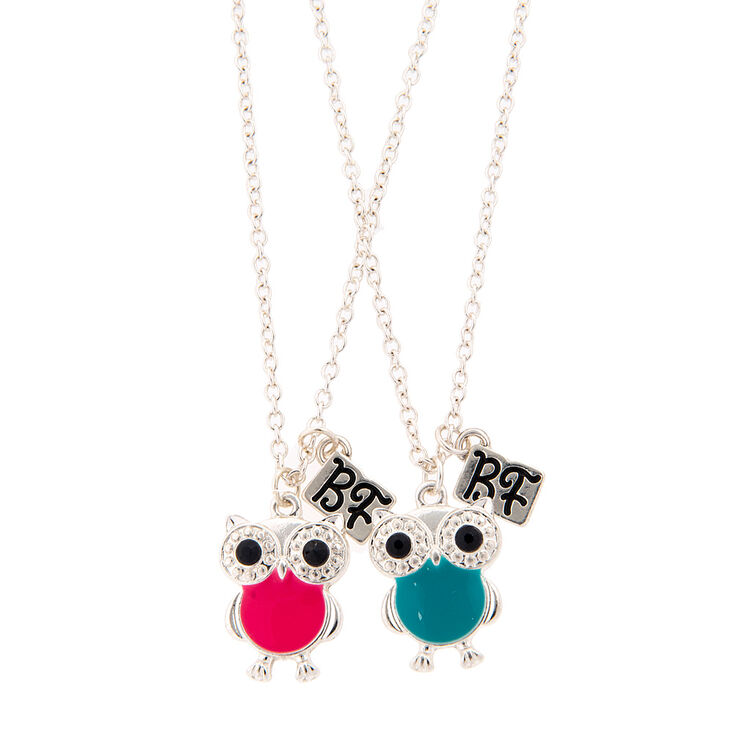 Pink And Blue Owl Best Friend Necklaces