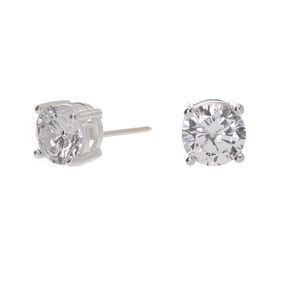 Sterling Silver Cubic Zirconia Round Basket Stud Earrings - 5MM,