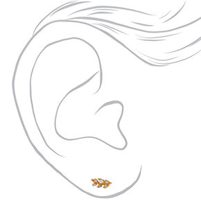 18kt Gold Plated Crystal Leaf Stud Earrings,