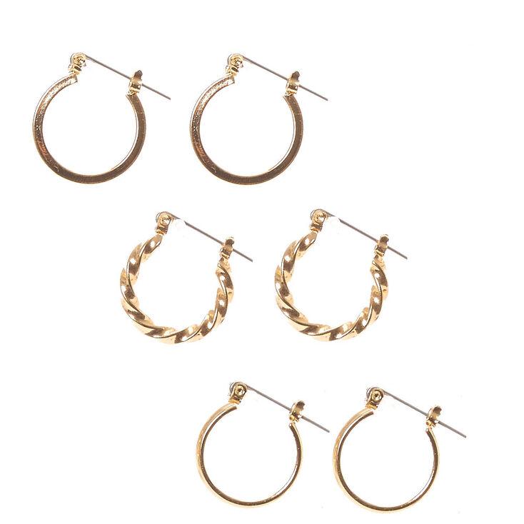 Gold 20mm Twisted Hoop Earrings