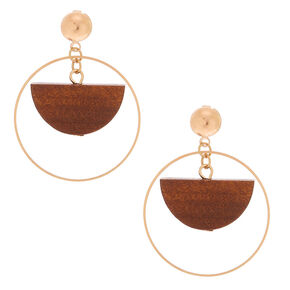 "Gold 1.5"" Wood Half Moon Drop Earrings,"