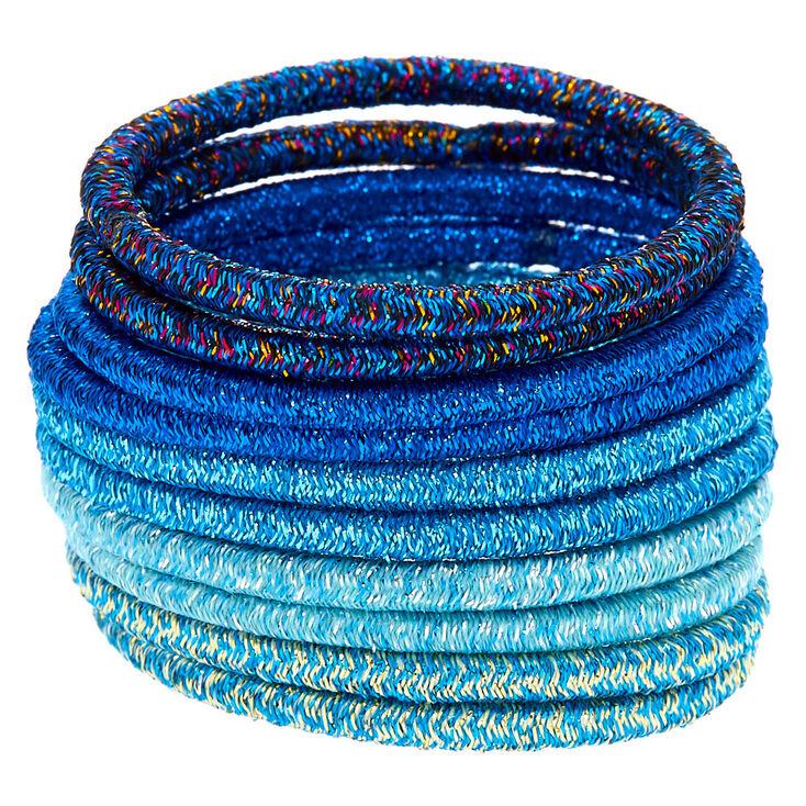 Glitter Hair Ties - Blue, 10 Pack,