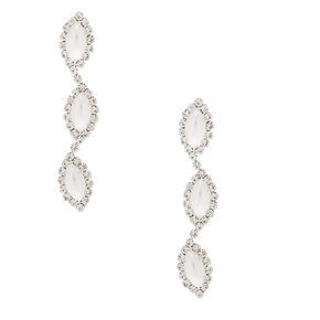 "Pearl & Rhinestone 2"" Linear Drop Earrings,"