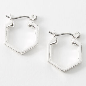 Silver 15MM Hexagon Hinge Hoop Earrings,