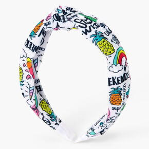 Unicorn Doodle Print Twisted Headband,
