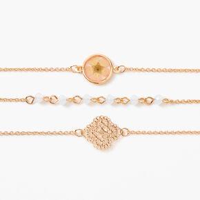 Gold Pressed Floral Filigree Chain Bracelets - 3 Pack,