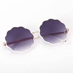Round Scalloped Sunglasses - White,