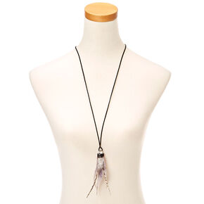Feather Crystal Pendant Necklace - Purple,