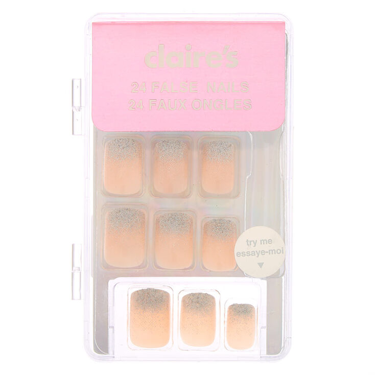 Shimmer French Square Faux Nail Set - Nude, 24 Pack,
