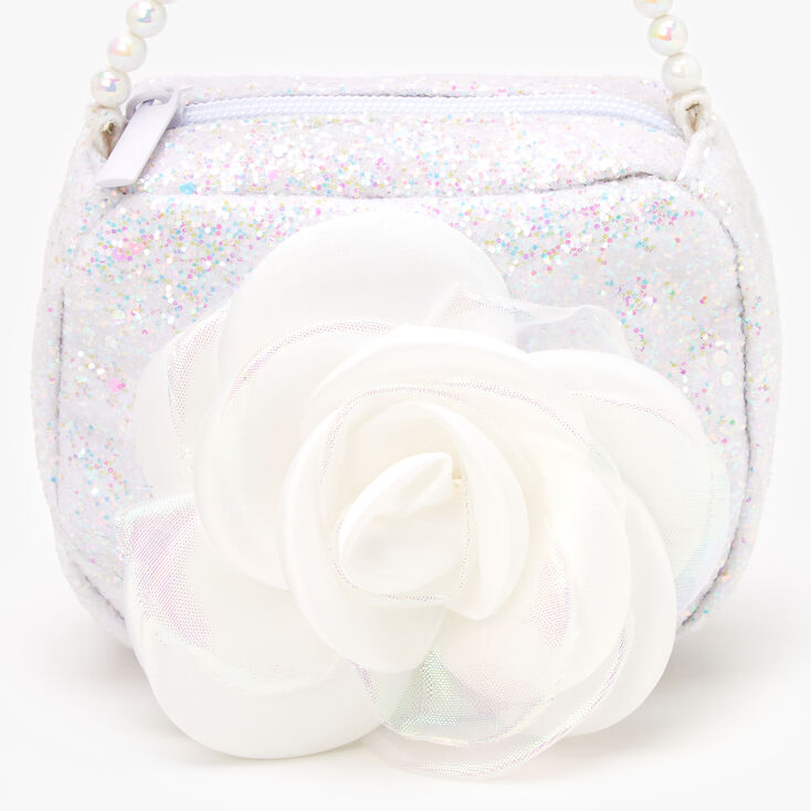 Claire's Club Sparkle Flower Bag - White,
