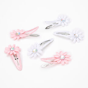 Claire's Club Flower Crystal Snap Hair Clips - 6 Pack,