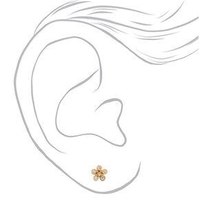 18kt Gold Plated Flower Stud Earrings,