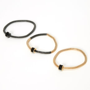 Mixed Metal Snake Chain Stretch Bracelets - 3 Pack,