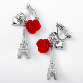 "Silver 1"" Eiffel Tower Rose Clip On Drop Earrings - Red,"