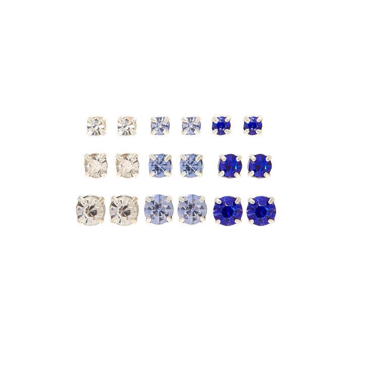 Blue Graduated Stud Earrings - 9 Pack,