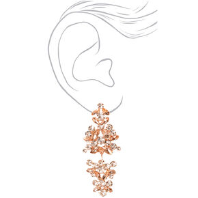 "Rose Gold 2"" Rhinestone Cluster Chandelier Drop Earrings,"