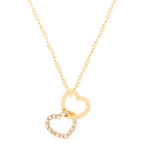 Gold Linked Heart Pendant Necklace,