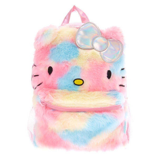 Claire's - hello kitty furry pastel rainbow holographic backpack - 1