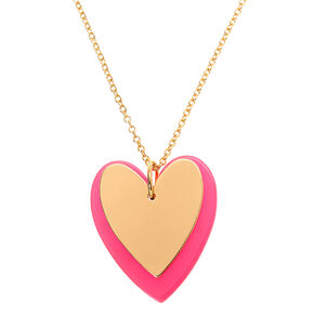 Gold Neon Double Heart Long Pendant Necklace - Pink,