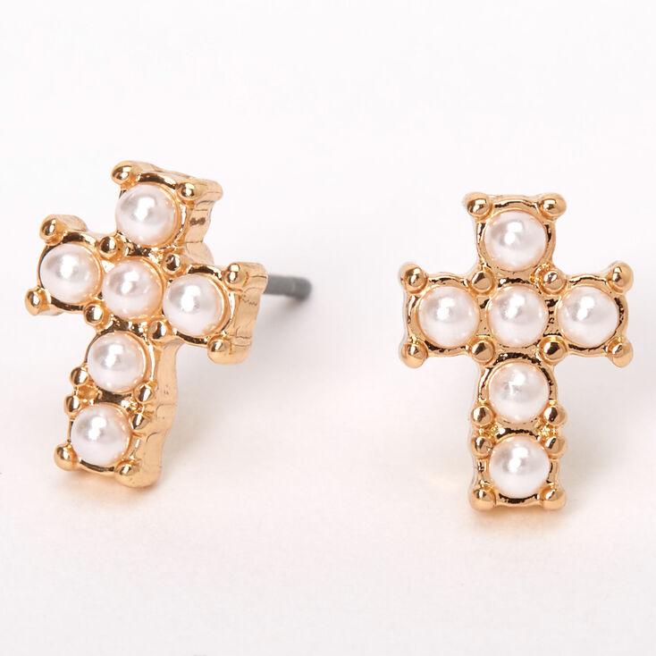 Gold Pearl Cross Stud Earrings,