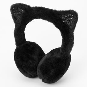 Furry Cat Ear Muffs - Black,