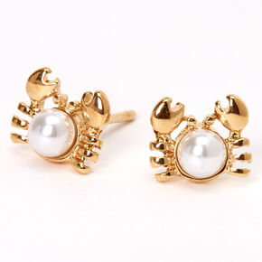 18kt Gold Plated Pearl Crab Stud Earrings,