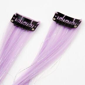 Extensions de cheveux synthétiques à clip avec guirlandes décoratives - Lilas, lot de 2,